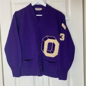 Vintage 70s Purple Varsity Letterman Cardigan